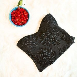 Express Stretchy Black Lace Bustier Top, Size S